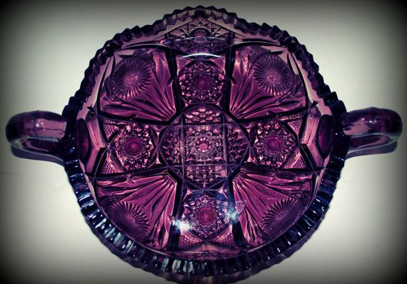 25 off  vintage amethyst cut glass  handled dish   by capecodgypsy, $45.00