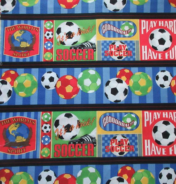 Fun Cheerful Kids soccer print. Primary colors.  100% cotton. 44 - 45 wide sports Collage Jeremy Wright Wilmington Prints Total available: 1/2 yard only Nice quality fabric ______________________