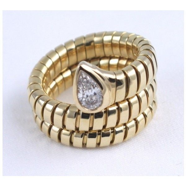 preowned bvlgari 18k yellow gold with diamond serpenti ring size 6