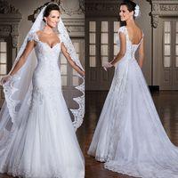 2014 nueva moda brasil vestido de noiva gorra de manga encaje vestido de novia con desmontable tren