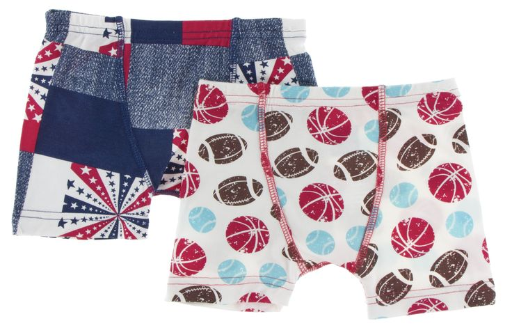 KicKee Pants Patchwork & Natural Sports Boys Boxer Brief Set-PRESALE