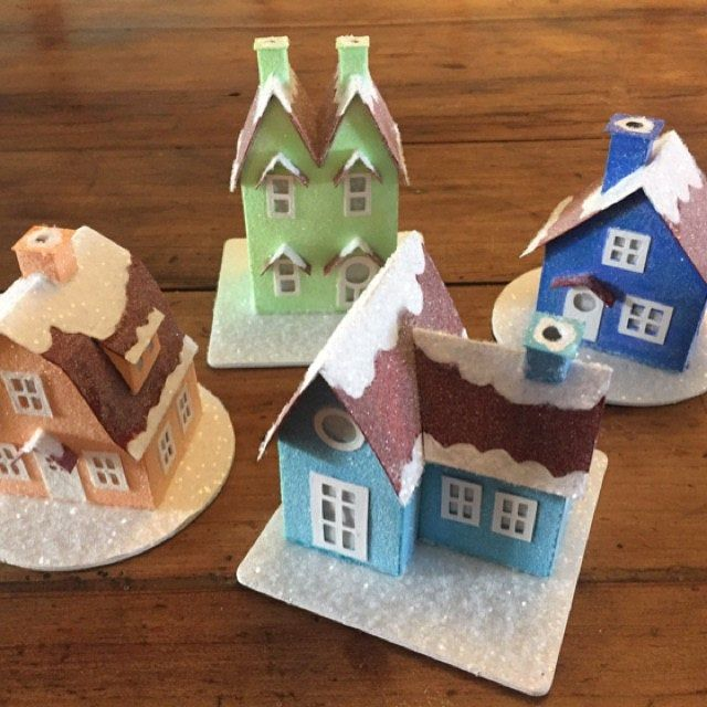 Putz Village Ornament Kit Makes 4 Paper House Christmas Decorations Christmas Village Mantle Decor Diy Christmas Craft Kit For Adults With Images Christmas Craft Kit Putz Houses Diy Christmas Village