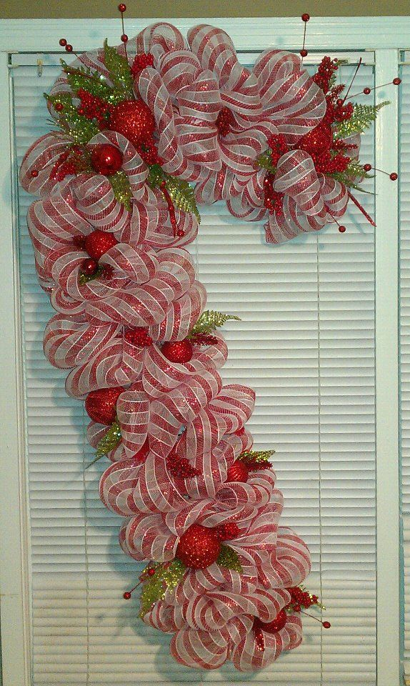 Deco mesh Candy Cane - much cuter than most of the others I have seen                                                                                                                                                                                 More