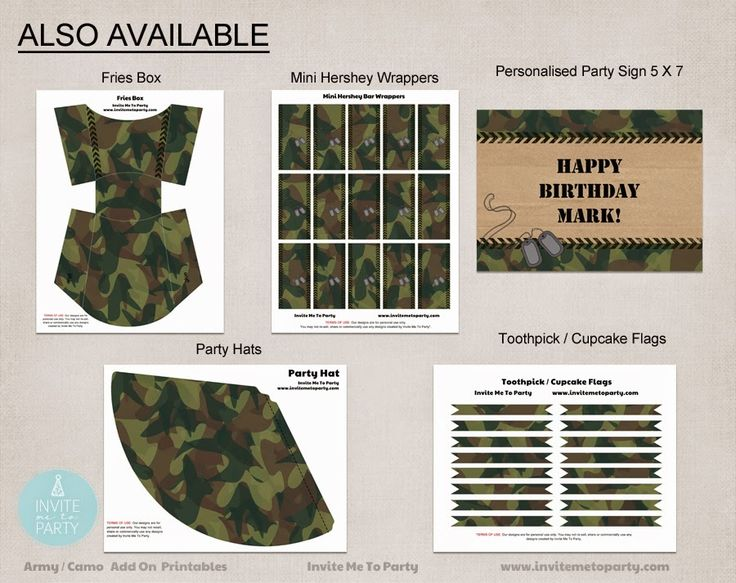 Army Party Decorations | Camo Party Decorations | Boys Party Invite Me To Party: Army Invitation | Camo Party
