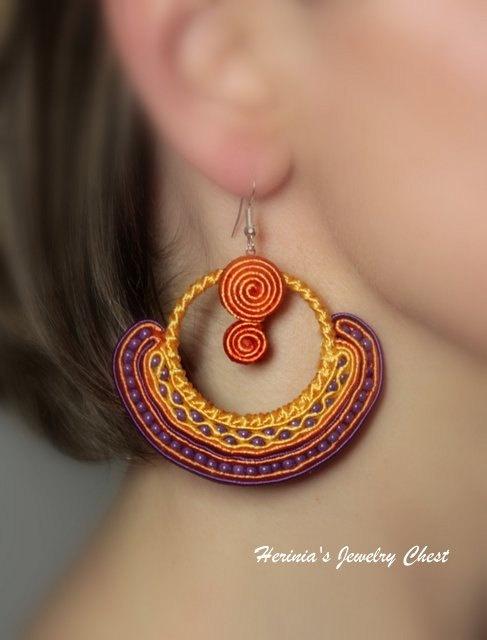 Boho Jewelry Hippie Earrings Folk Earrings Soutache by Herinia, $35.00