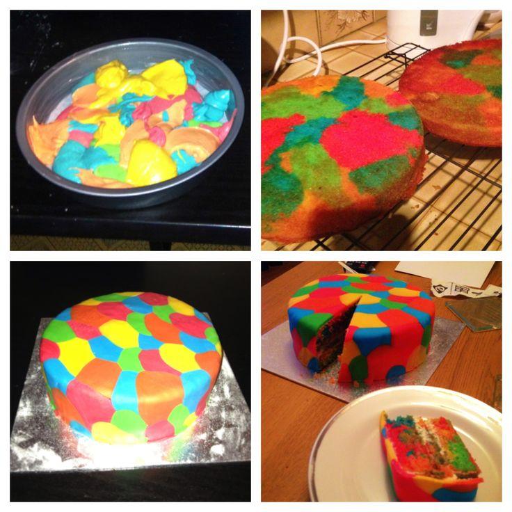 Rainbow cake, bright cake, for Richard's birthday!