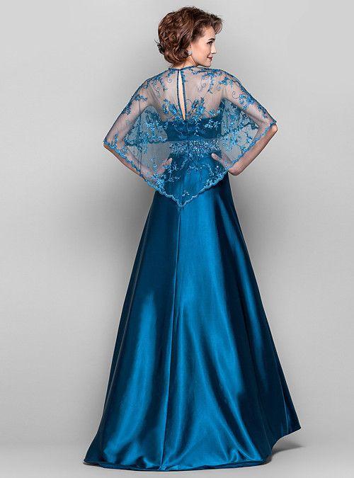 c543bbf7 Vestido - Azul Tinta Corte Recto Barrer / cepillo tren - Escote en V Encaje/