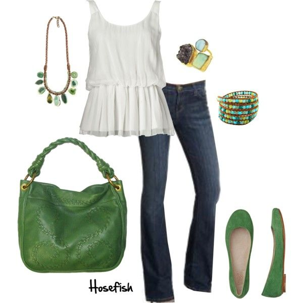 Green Accents: Green Accent, Dresses, Green Purses, Green Flats, Cute Outfit, Accessories, White Tops, My Style, I D Wear