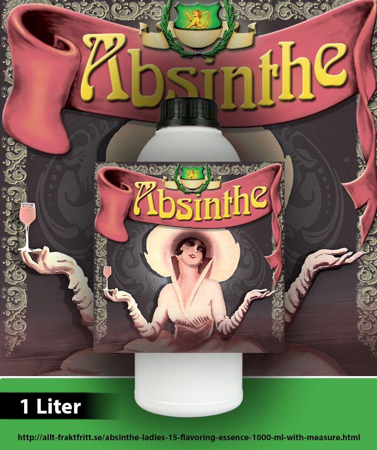 Absint Ladies 15 i 1000 ml (1 liter) aromtät flaska.  En vanlig essens flaska är 20 ml och räcker till att omvandla en 750 ml flaska sprit.  1000 ml Essens ger 50 hela 750 ml flaskor Absint Ladies 15 (OBS: endast 15 mg tujon) när innehållet blandas med sp