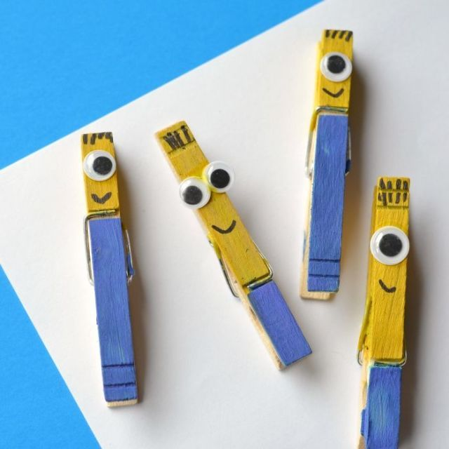 9 super cute crafts starring minions craft minion craft for Minion clothespins