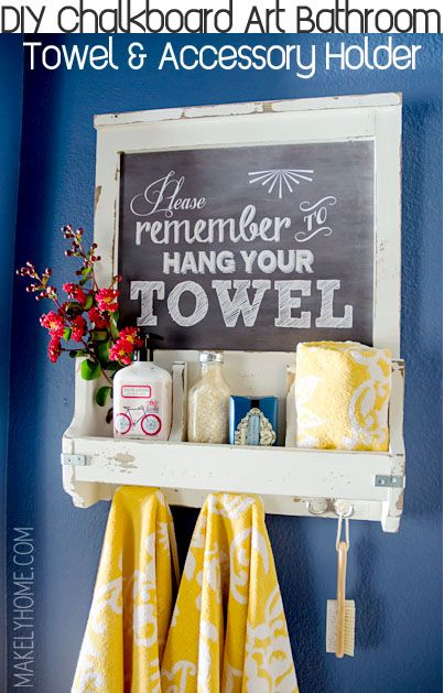 DIY Faux Chalkboard Bathroom Storage and Towel Hooks via Makely School for Girls. Guest bathroom must have