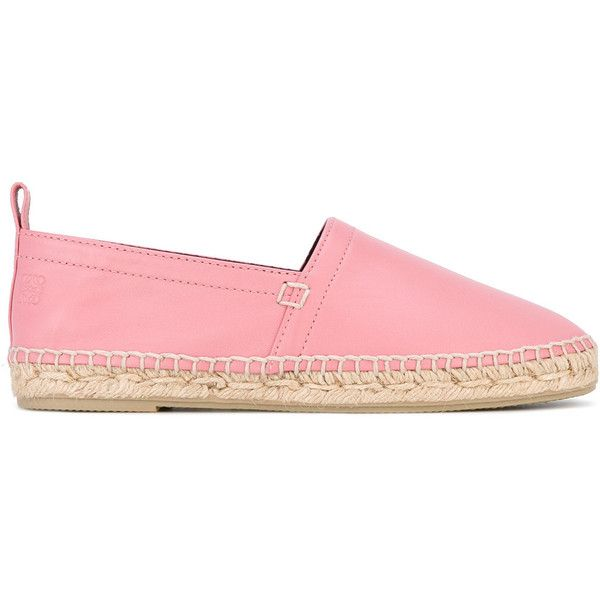 Loewe nappa espadrilles ($450) via Polyvore featuring shoes, sandals, pink, flat shoes, rubber sole sandals, pink shoes, flat sandals and pink flat sandals