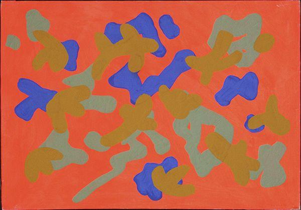 Giulio Turcato - Forme vaganti - tecnica mista su tela - 80 x 100 cm - 1972
