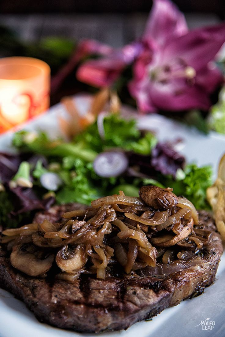 Ribeye With Caramelized Onions And Mushrooms (Paleo, Whole30, AIP) #ValentinesDay