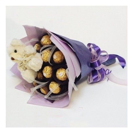 Delight your spouse with the lovely teddy and make them feel the taste of your love with ferrero rocher chocolates . We are offering teddy and rocher bouquet combo at reasonable price. You can make your order online cake delivery gurgaon, noida , delhi and other places of  India.
