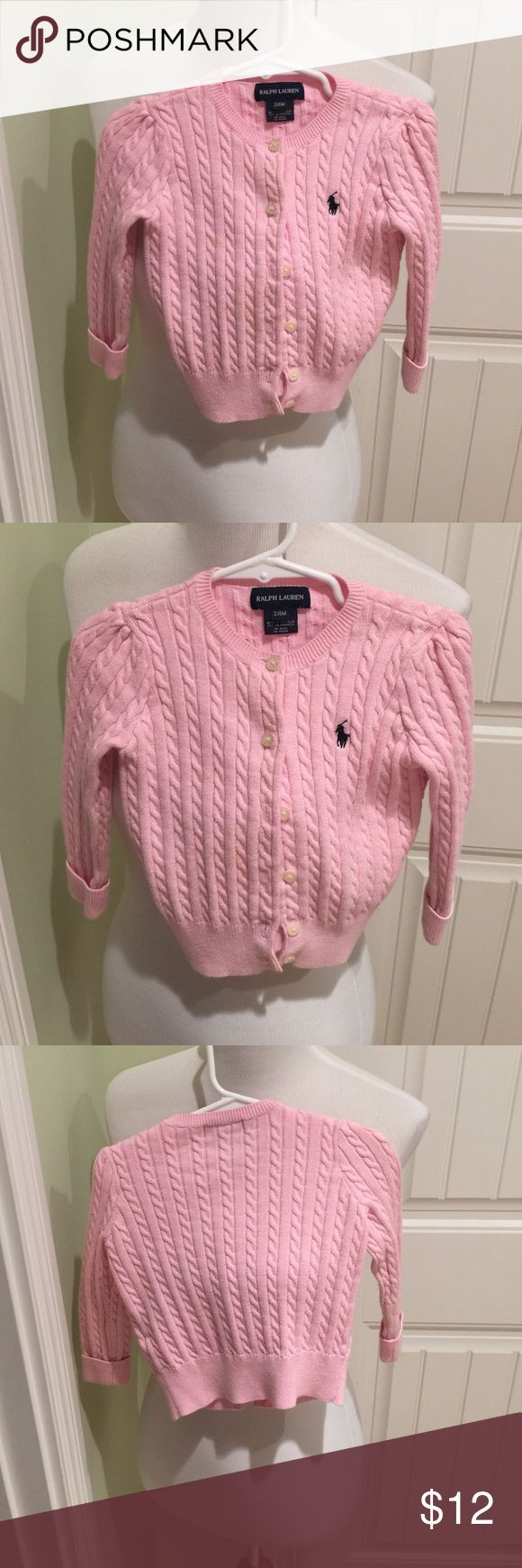 Ralph Lauren Cardigan Sweater. This pink cardigan sweater is great to put over any shirt. Super cute! Great Condition! Ralph Lauren Shirts & Tops Sweaters