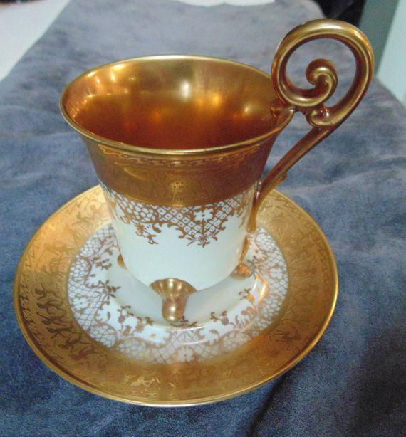 D W Porzellan Karlsbader Wertarbeit Since 1921 Gilt Gold Demitasse Cup
