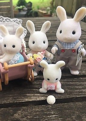 ... Calico Critters Sylvanian Families White Warren Rabbit Family of 6 Twins Babies 4