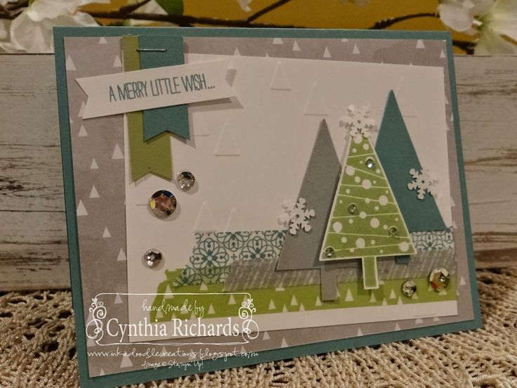 Stampin Up Festival of Trees, handmade cards, Christmas, SSINK, ink a doodle creations, washi tape, banners: