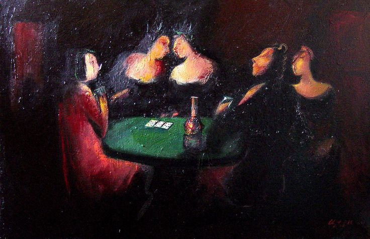 """Poker №1"" oil on canvas, 75x85"
