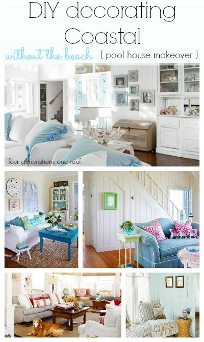 DIY Decorating Coastal Style Without The Beach! Pool House Makeover Done On  A Budget.