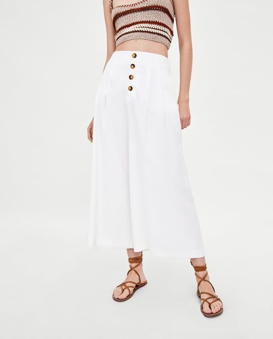 c5af791c Image 3 of CROPPED WIDE-LEG TROUSERS WITH BUTTONS from Zara Waist Skirt,  High
