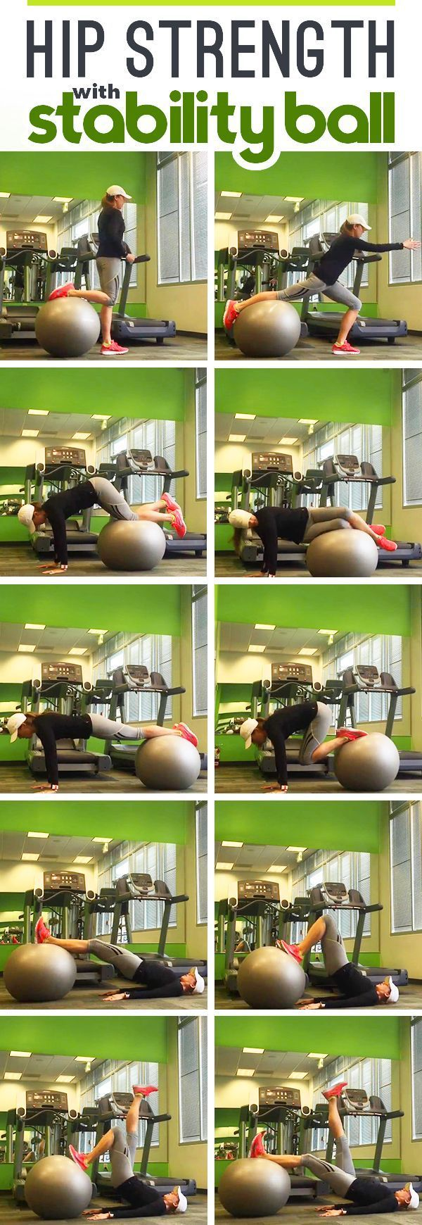 Improve Hip Strength with Stability Ball exercises to prevent IT Band Syndrome and runner's knee, especially important for women