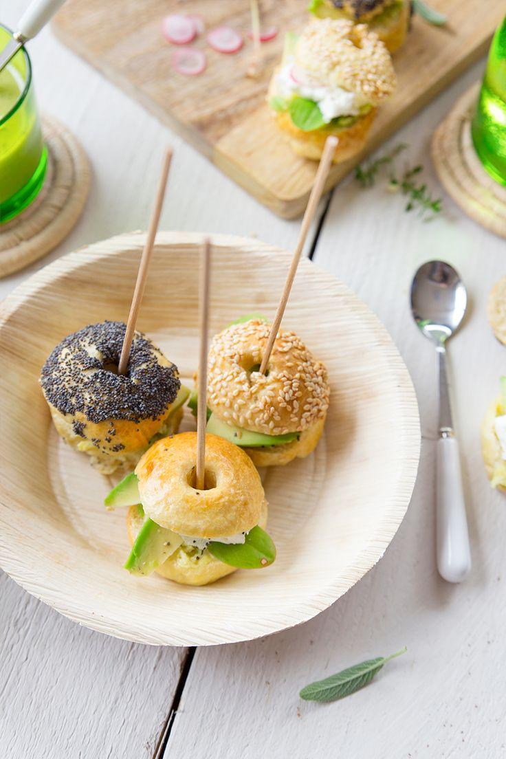 mini bagels, avocat et fromage frais