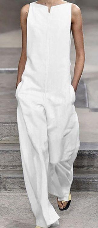 Pockets Solid Sleeveless Holiday Jumpsuits 11