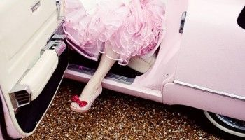 A 1960′s Pink Cadillac at Preston Court for a Candy Anthony Bride…