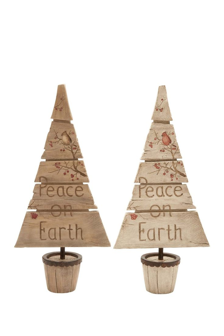 A christmas story ornament set - Slatted Christmas Tree Statuette With A Perching Cardinal Detail And Typographic Accents Product Set Of 2 Tree Statuettesconstruction Material
