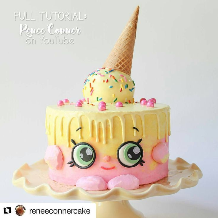 Check out this adorable Shopkins Ice Cream Kate cake by @reneeconnercake ! How cute! :) be sure to c - zoesfancycakes