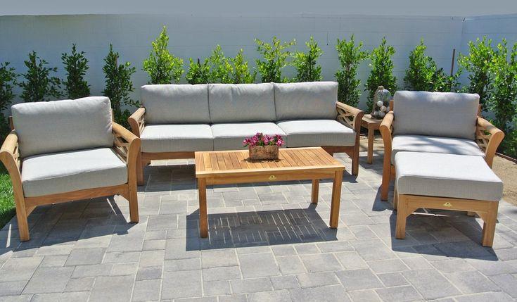 6 pc Monterey Teak Deep Seating Set with Coffee Table. Sunbrella Cushion.