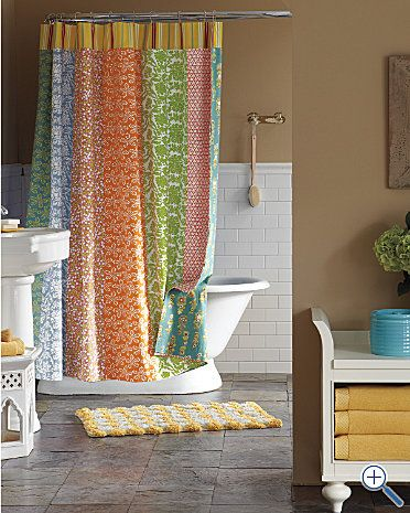 lovely bright colors for the bathroom could repurpose my pbk blue green yellow colorful shower curtaincute