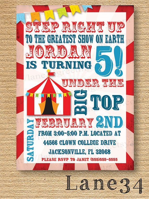 Big top Circus Birthday invitation Invitation by Lane34greetings