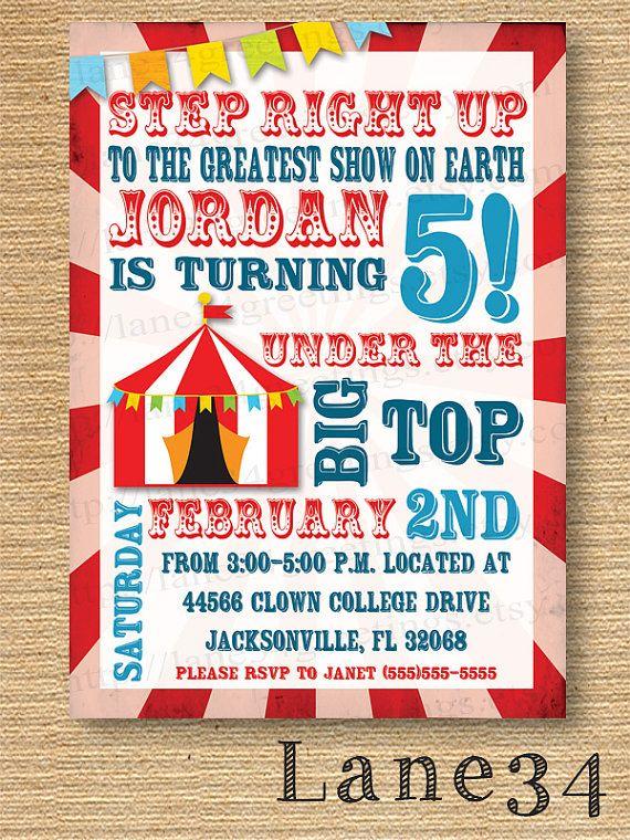 110 best Circus images – Circus Birthday Invitation
