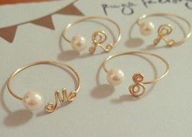 Cute Pearl Initial Rings for Bridesmaids Gift.