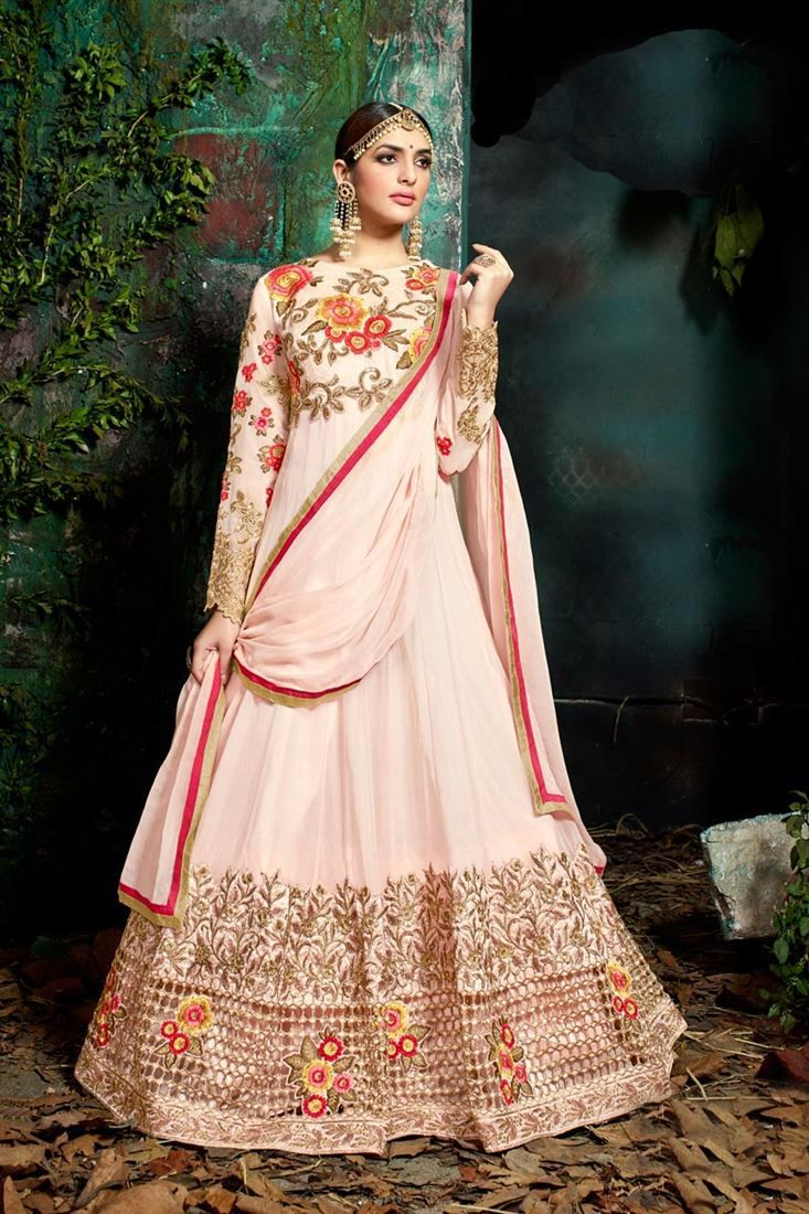 Online Shopping of Designer Wedding Party Wear Fancy Pink Color Georgette Embroidered Long Anarkali Salwar Kameez from SareesBazaar, leading online ethnic clothing store offering latest collection of sarees, salwar suits, lehengas & kurtis
