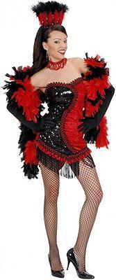 Disfraz de Vegas Show Girl Negro-Rojo para mujer