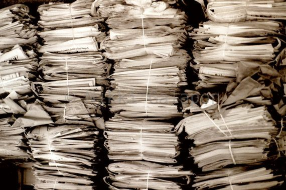 "Newspaper Stacks, Black and White Fine Art Photograph, 6""x9"""