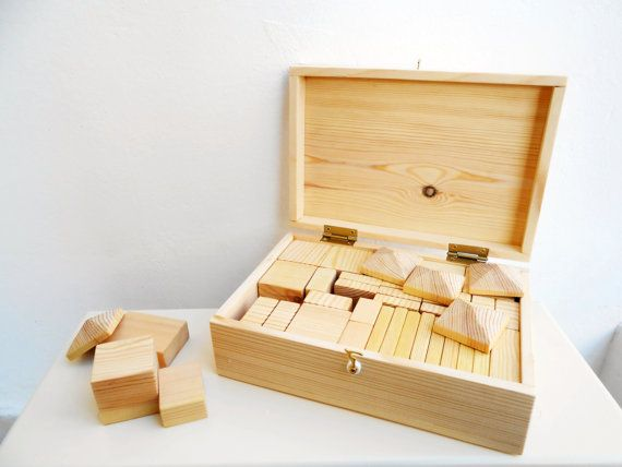 This is a beautifully crafted natural wooden block set that will stimulate your child's imagination and creativity. It contains 40 organic,