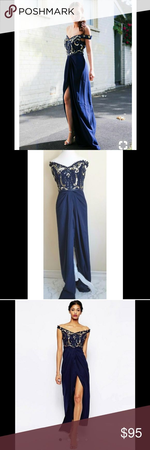 Sequin Beaded Off Shoulder High Slit Navy Gown MAKE OFFERS As seen on ASOS  Size 10 fits true to size  embellished bodice  maxi dress  slit  Off shoulder  hidden sip back closure  Bardot neckline  includes extra beads  brand new with tags  Perfect for holiday, party, cocktail, or wedding.  Virgos Lounge Dresses Maxi