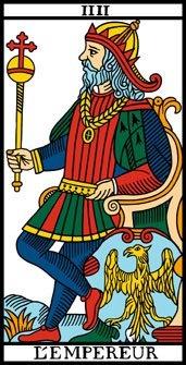 Arcano 4. El Emperador. L'empereur.  Tarot de Marsella.