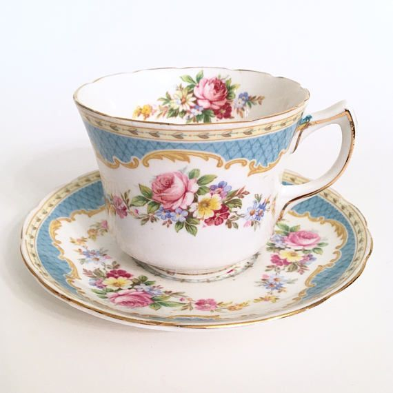 Foley Windsor Vintage thee Cup  blauw Vintage Tea