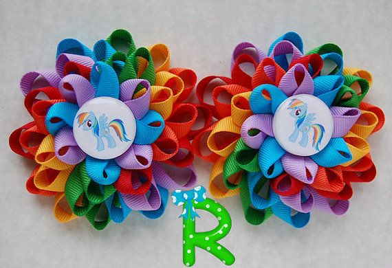 Hey, I found this really awesome Etsy listing at https://www.etsy.com/listing/212889017/set-of-raimbow-dash-loopy-flower-hair