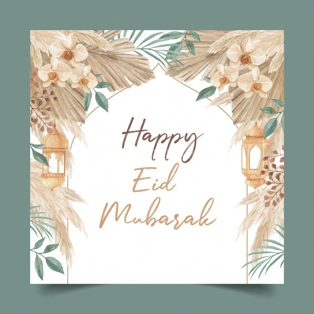 Happy Eid Mubarak Greeting Card Template Decorated With Lantern Palm Leaves Pampas Grass And Orchid Eid Mubarak Greeting Cards Eid Mubarak Greetings Eid Al Adha Greetings