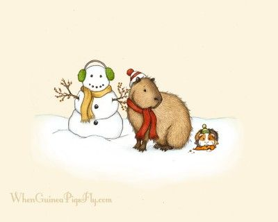 Guinea pig and capybara making a snowman together, by When Guinea Pigs Fly