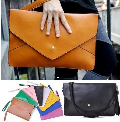 Details: Material : PU Leather Color : black, brown, rose red, yellow, blue, red Weight : About 374g Length : 35.3cm(13.9'') Height : 24cm(9.45'') Width : 0.5cm(0.2'') Strap Length : 127.5cm(50.2'') Pattern : Pure color Inner Pocket : Yes Closure : Cover  Package include: 1* Clutch B...