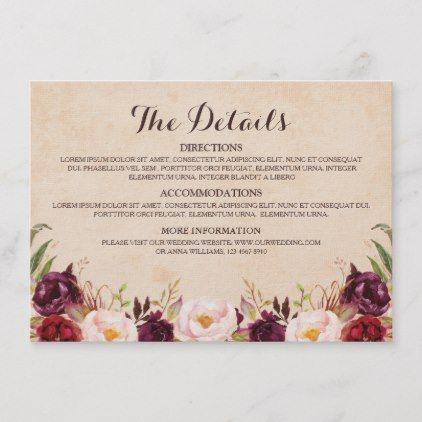 Burgundy Red Floral Rustic Wedding Details Enclosure Card   Zazzle.com