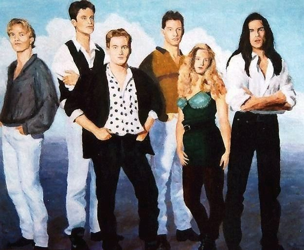 Commissioned portrait of a rock band in the nineties. Acrylic on paper ©1996, sold
